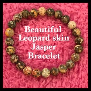 Leopardskin Jasper Gemstone Beads Bracelet